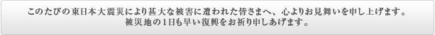 このたびの東日本大震災により甚大な被害に遭われた皆さまへ、心からお見舞いを申し上げます。被災地の1日も早い復興をお祈り申しあげます。